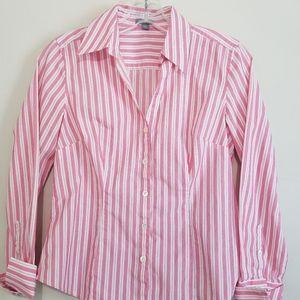 fc922a14 Ann Taylor Pink & White Striped Button Down Shirt